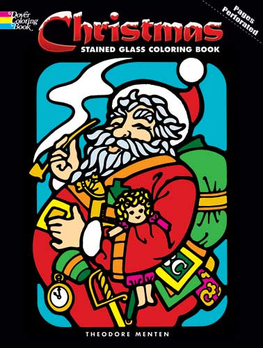 Christmas coloring stained glass designs