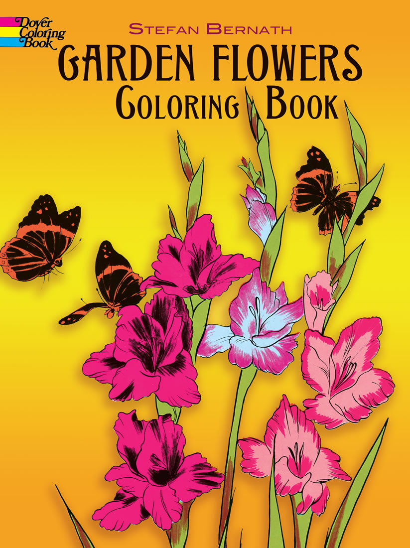 Adult coloring garden flowers drawings