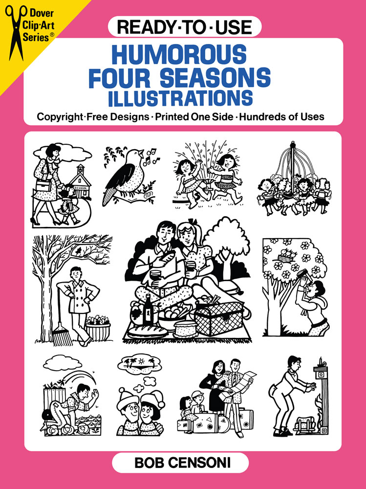 black and white clip art four seasons humor