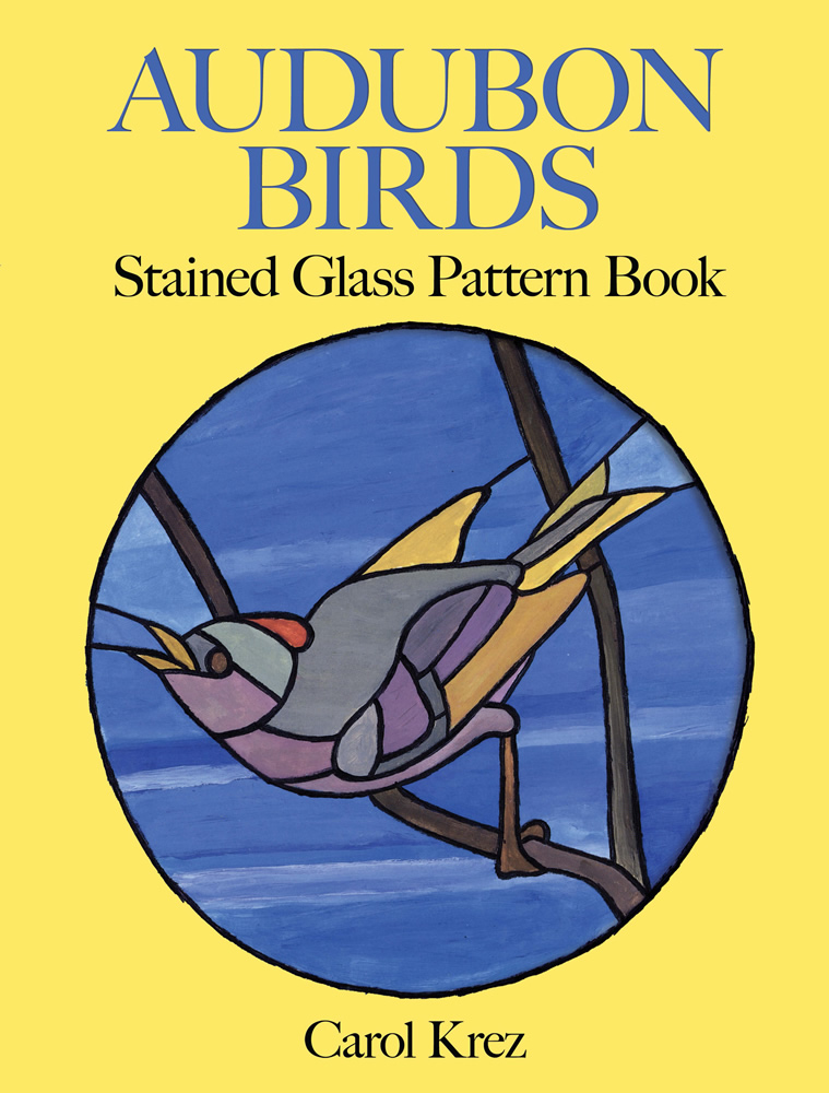 Birds coloring book stained glass designs