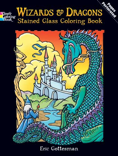 Fantasy coloring dragons and wizards