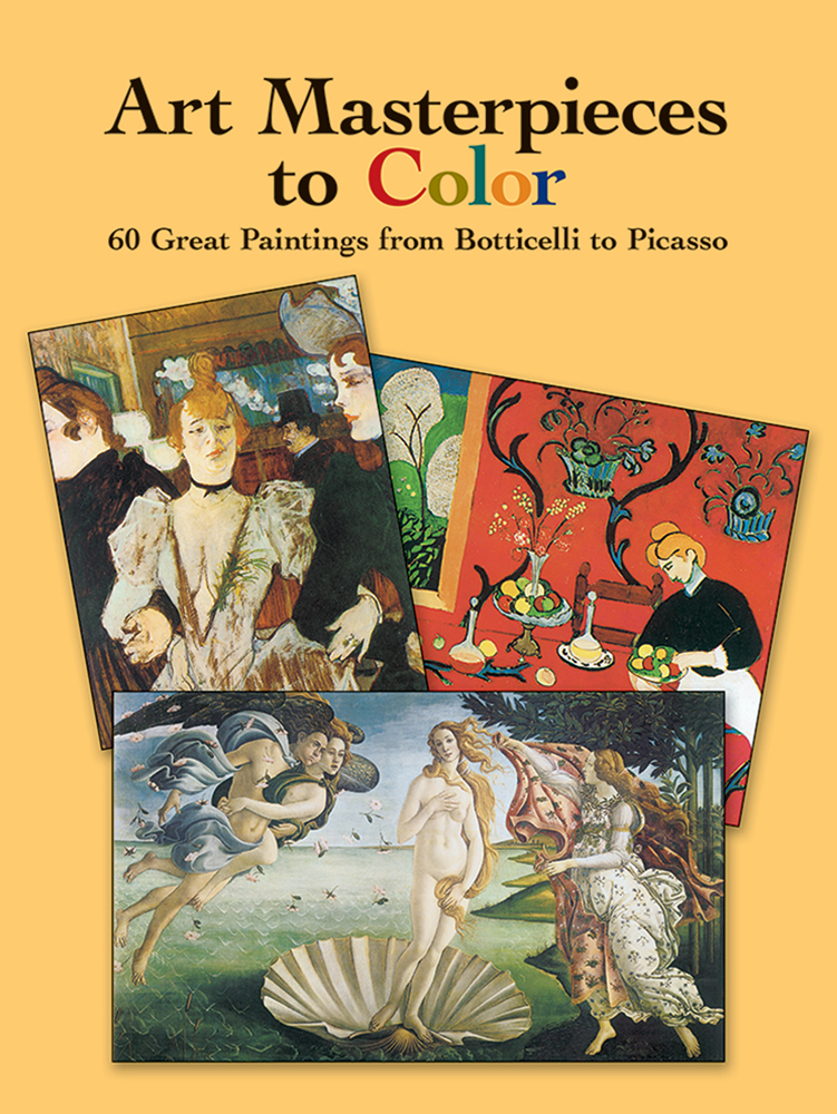 Fine art masterpiece paintings to color in