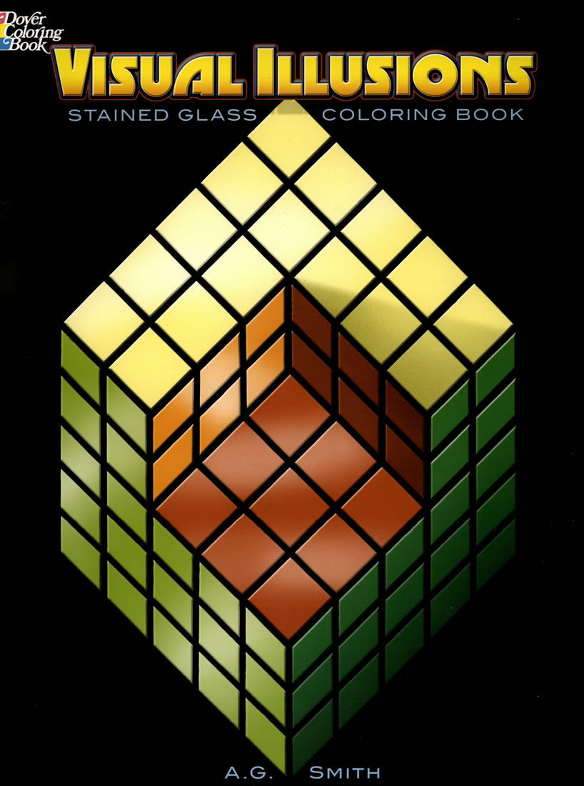 Visual illusions stained glass style coloring book