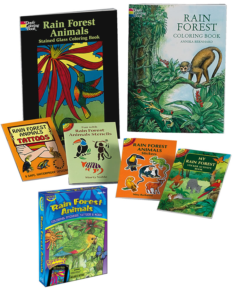 Rain forest animals coloring and crafts kit