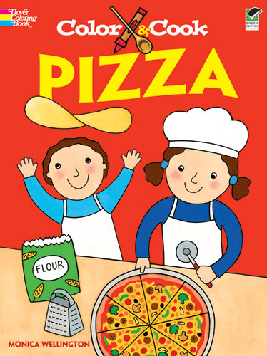 Pizza coloring book for children who cook