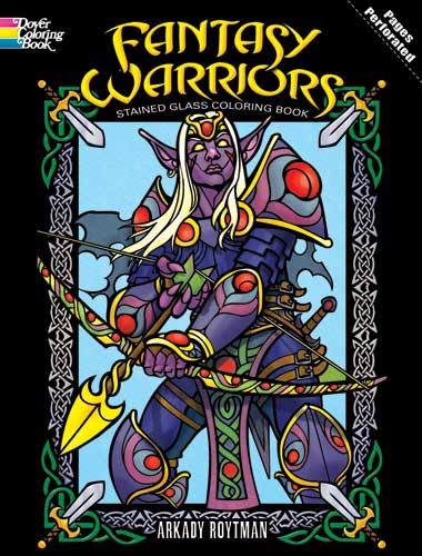 Fantasy warriors coloring for adults