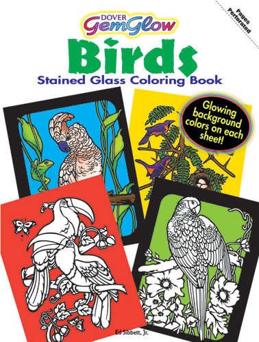 Birds coloring book, gemgow stained glass pictures
