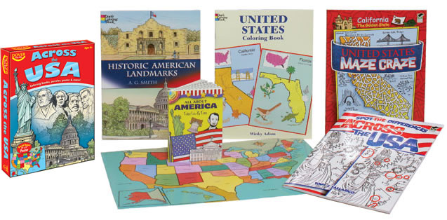 Educational kit USA activitis, crafts, maps and puzzles