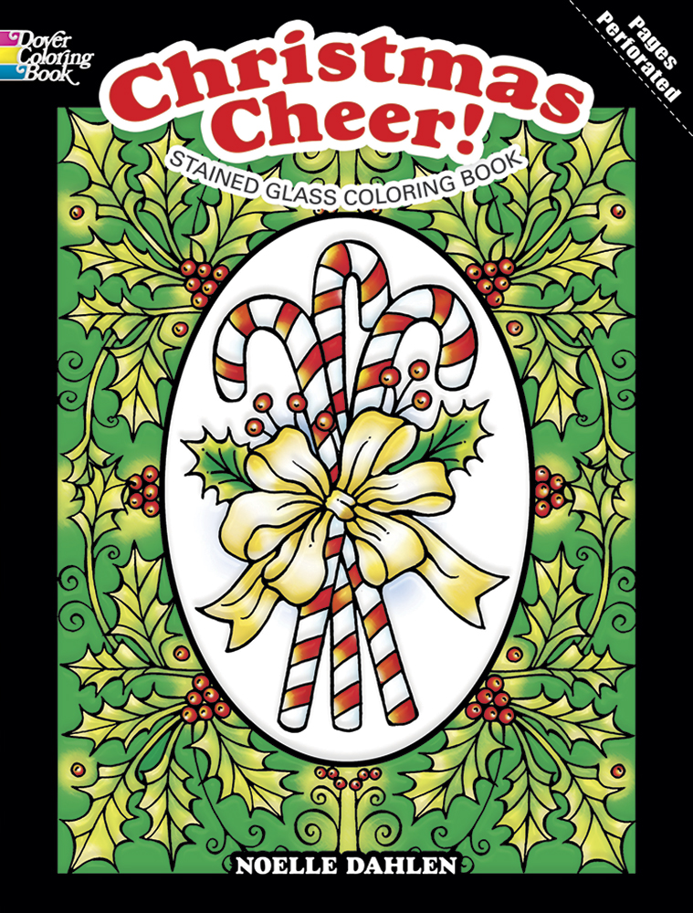 Christmas coloring book stained glass designs for adults