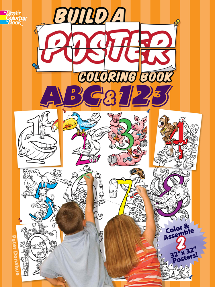 Letters and Numbers giant poster coloring activity for adults and children