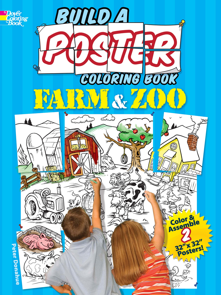 Farm and Zoo Animals poster coloring kit