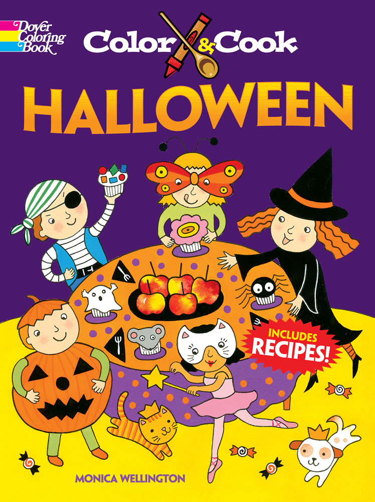 Halloween cook and color kids activity book