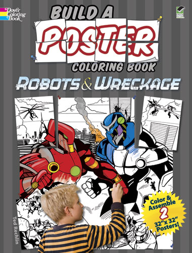 Robots mural coloring poster activity book