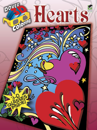3d Hearts coloring book for teens and adults