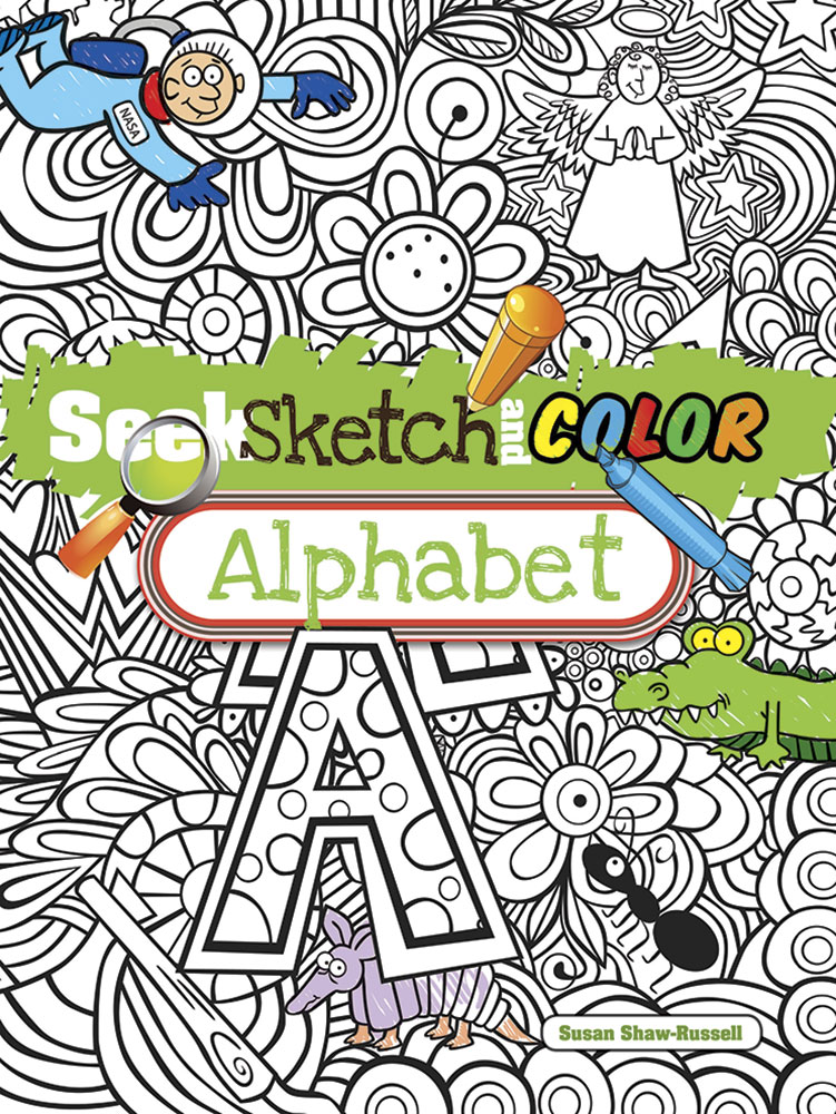 Seek and sketch alphabet coloring activity book