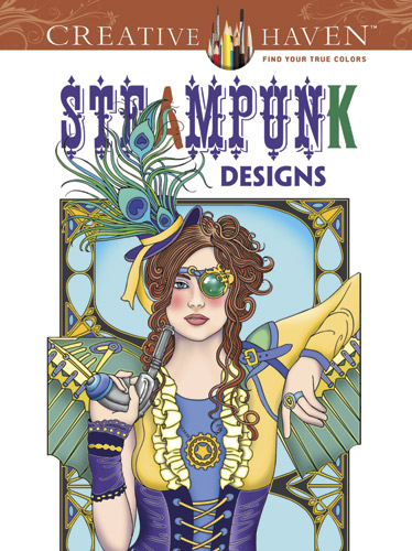 Steampunk design coloring book for teens and adults