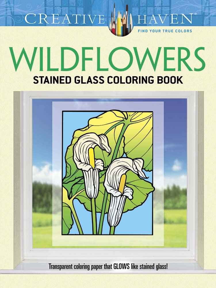 Creative Haven adult coloring book wildflowers stained glass