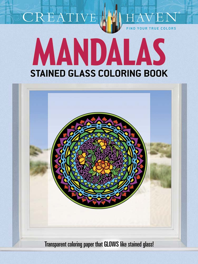 Stained glass window art mandala coloring book
