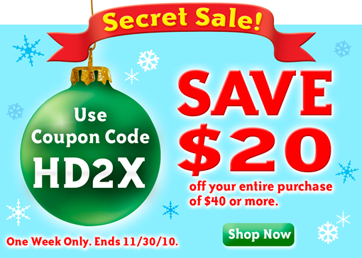 Secret Sale! Save $20. One Week Only. Ends 11/30/10