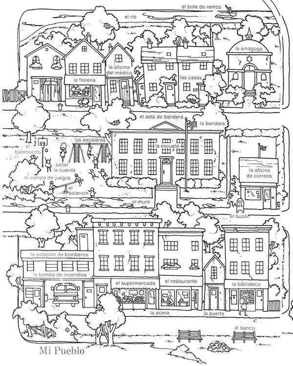 places around town coloring pages | Welcome to Dover Publications