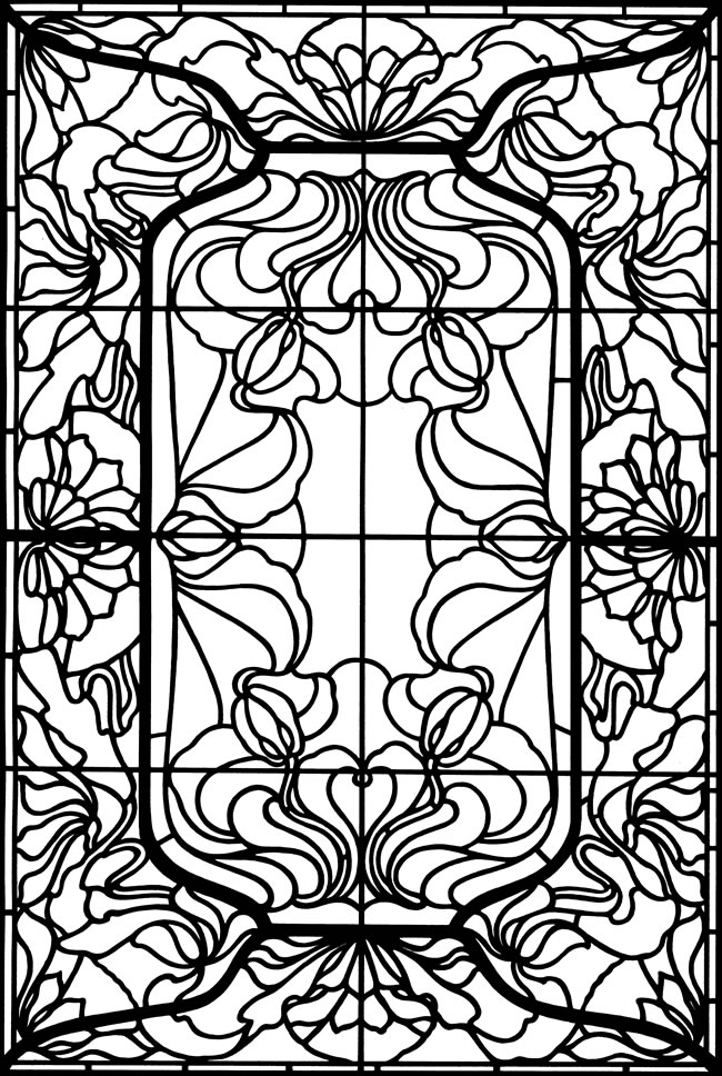 Welcome to dover publications for Stained glass coloring pages for adults