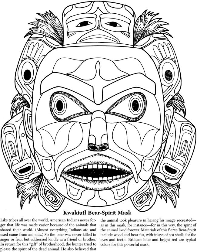 mayan masks Colouring Pages