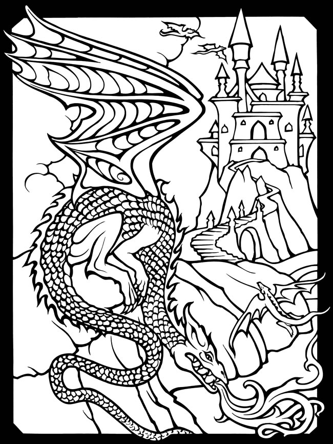 wizard and dragon coloring pages - photo#7