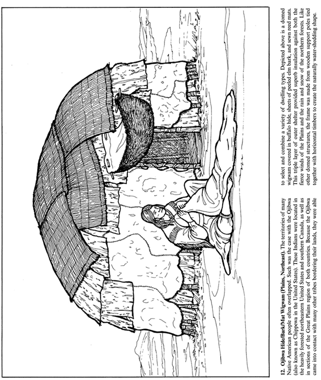 Free Wigwam Coloring Pages Longhouse Coloring Page