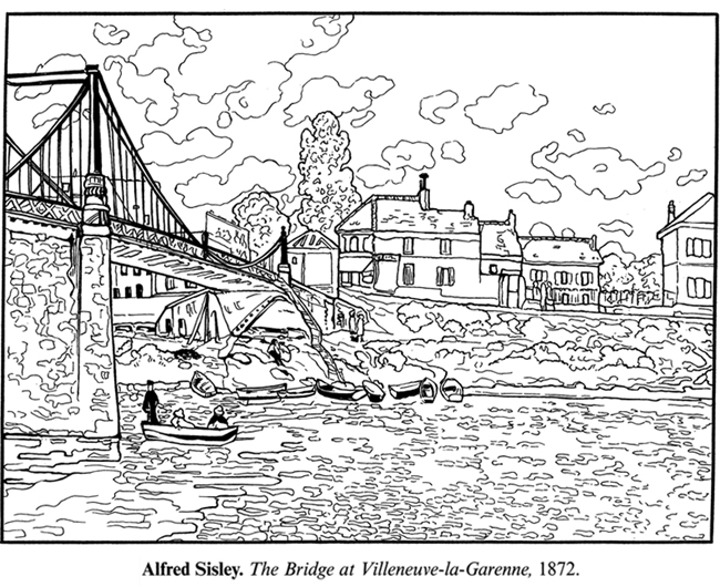 Welcome to dover publications for Impressionist coloring pages