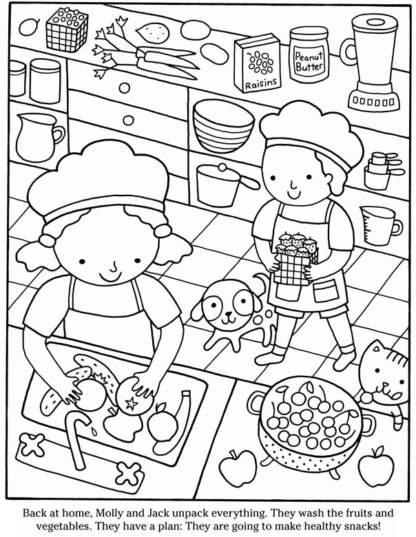 healthy snacks coloring pages - photo#16