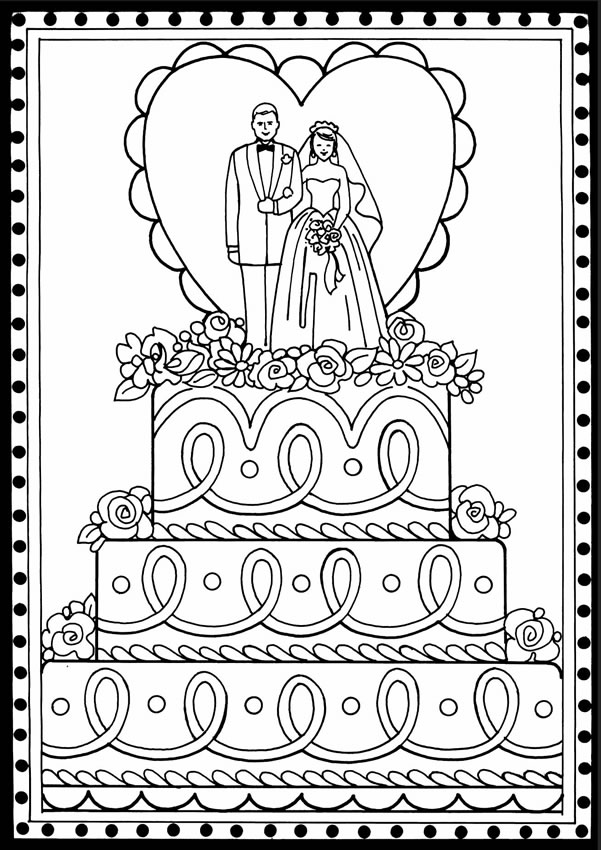 Welcome to dover publications for Wedding cake coloring page