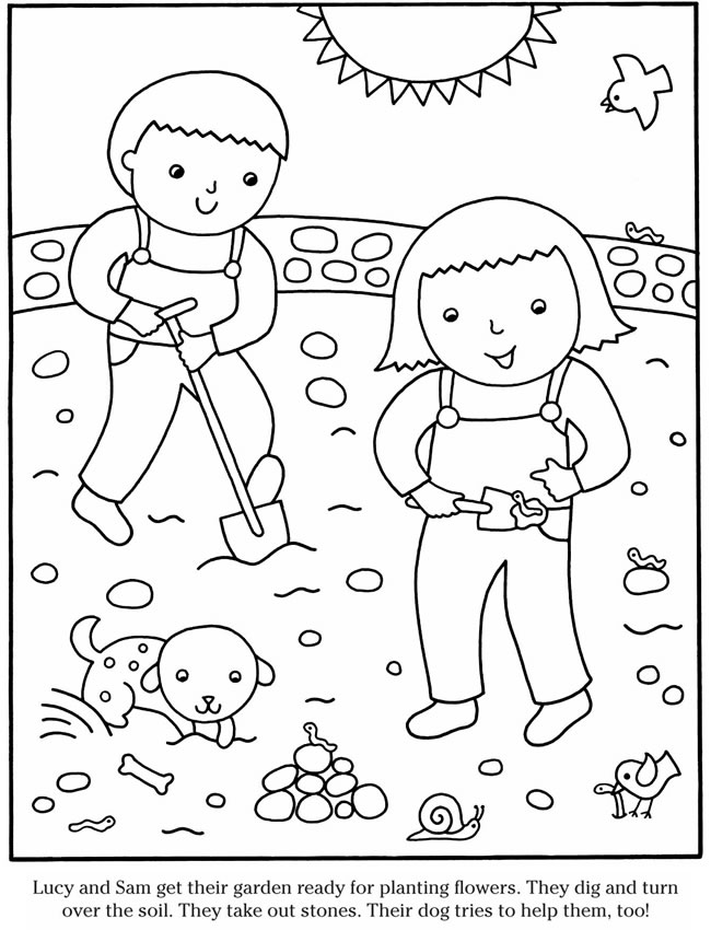 children planting flowers coloring pages - photo#26