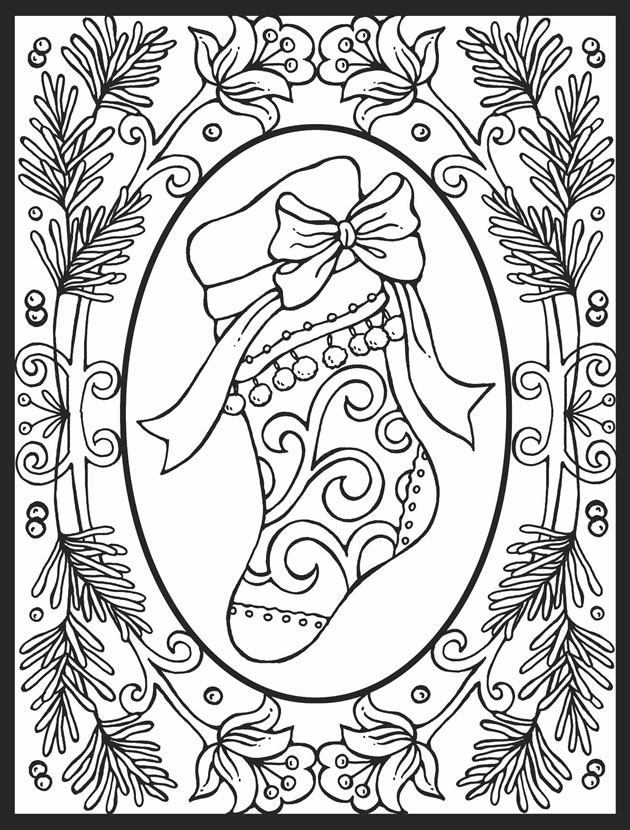 stained glass christmas coloring pages - welcome to dover publications