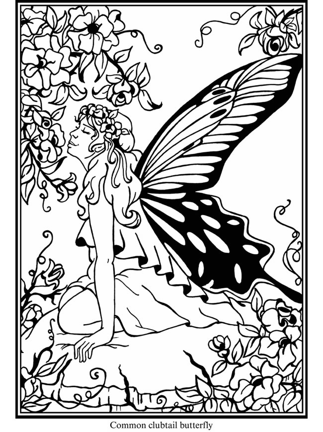 Welcome to dover publications for Butterfly fairy coloring pages