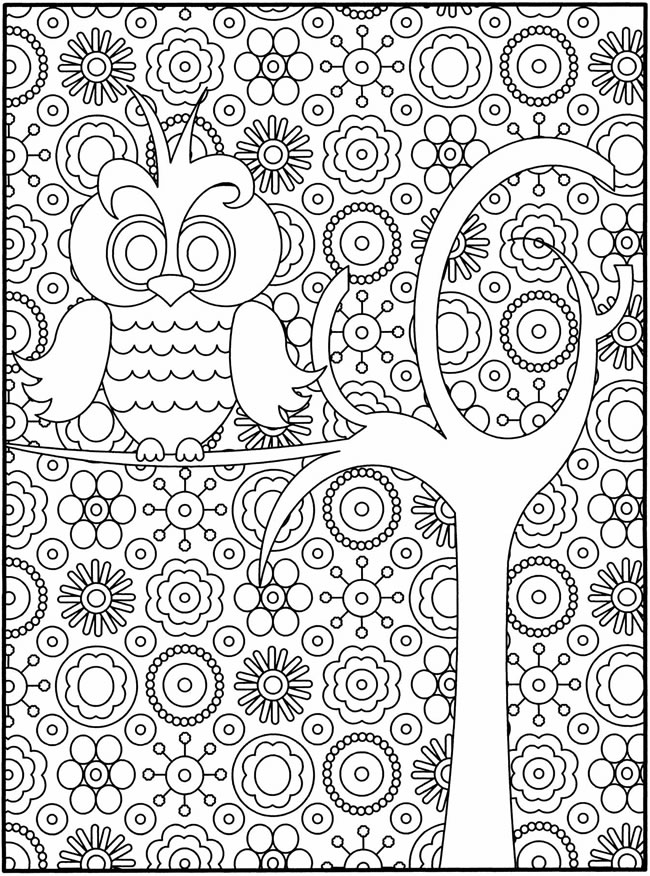 Excellent Hard Owl Coloring Pages for Adults 650 x 876 · 222 kB · jpeg