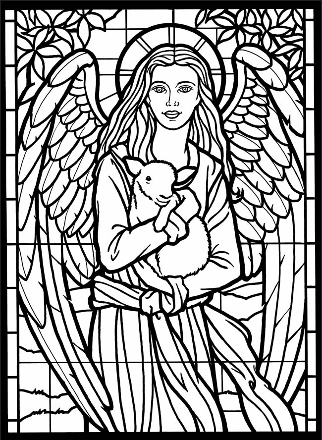 online stained glass coloring pages - photo#27