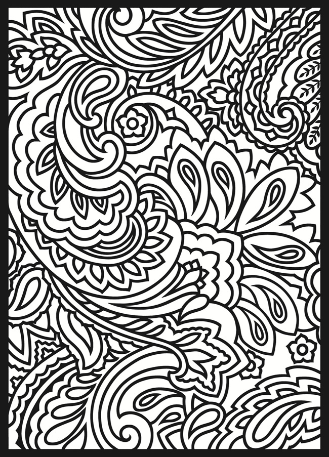 Lady betwixt pinte o 7 for Paisley designs coloring pages