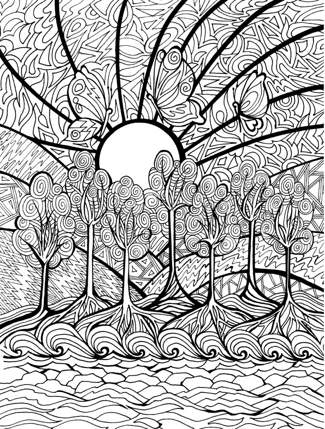 30 Remarkable Beach Sunset Coloring Pages – azspring | 858x650