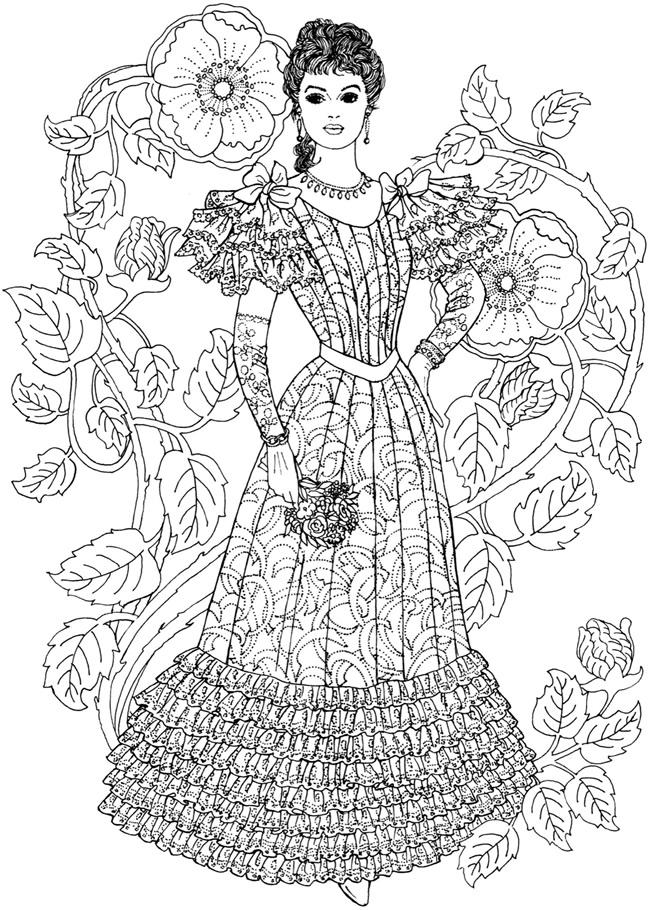 外国のアンティークヴィクトリアン風の ファッション おしゃれぬり絵 イラストまとめ Naver まとめ Fashioned Coloring Pages