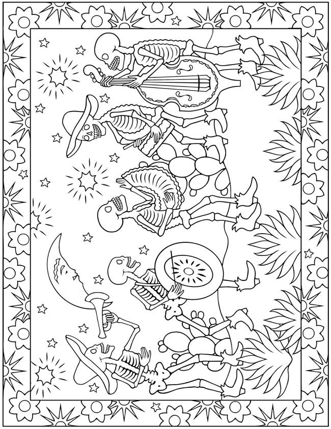 Dia de los muertos girl coloring pages