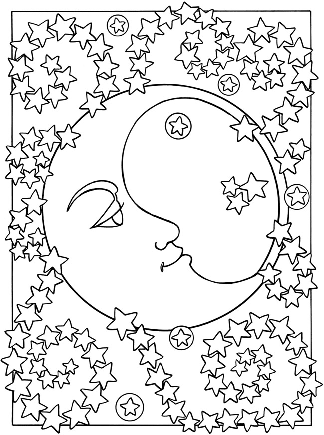 free coloring pages moon and stars | Welcome to Dover Publications