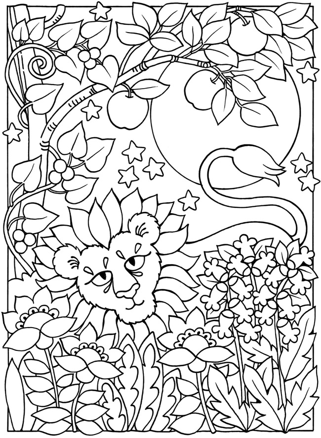 Free coloring pages of sun,moon and stars