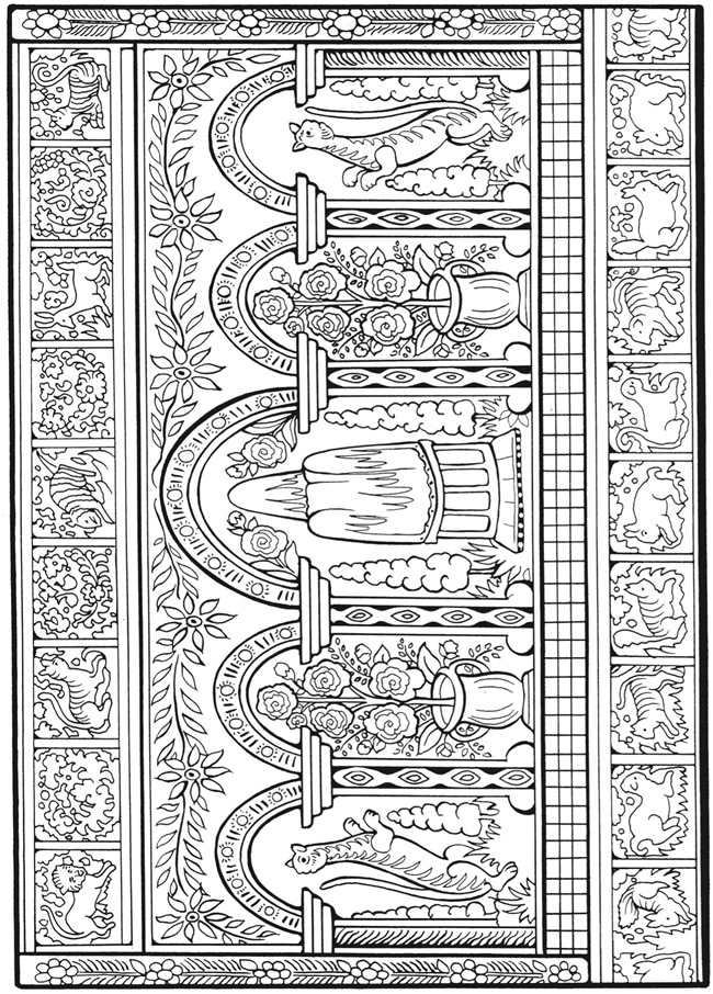 Welcome to dover publications for Folk art coloring pages