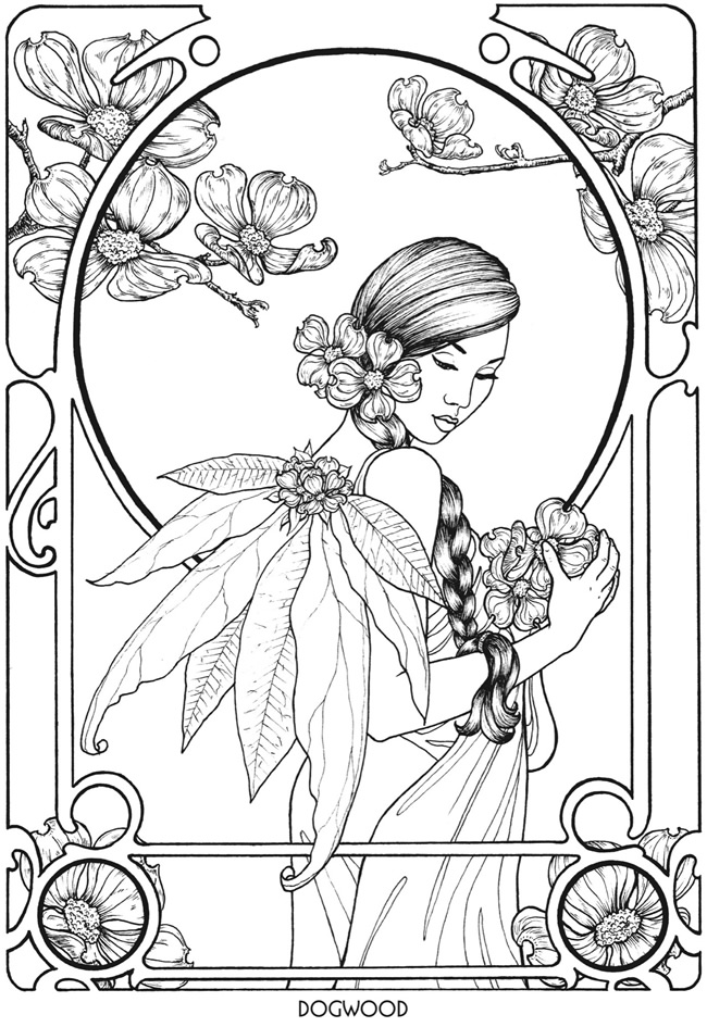 free advanced fairy coloring pages - photo#29