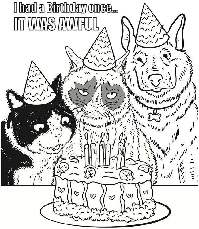 birthday cat coloring pages - photo#31
