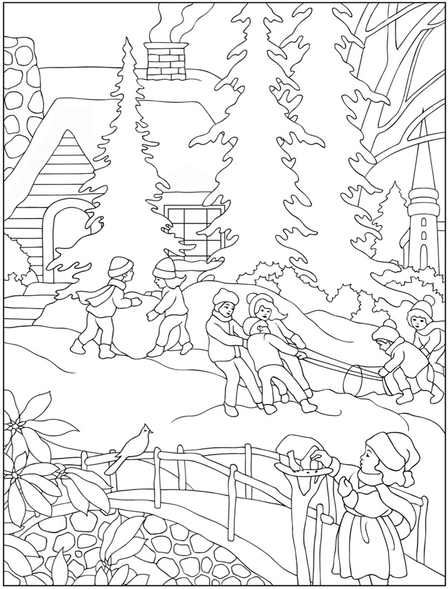 free winter scenes coloring pages - photo#16