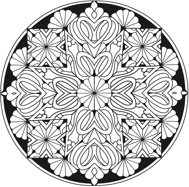 Kaleidoscope Designs Stained Glass Coloring Book