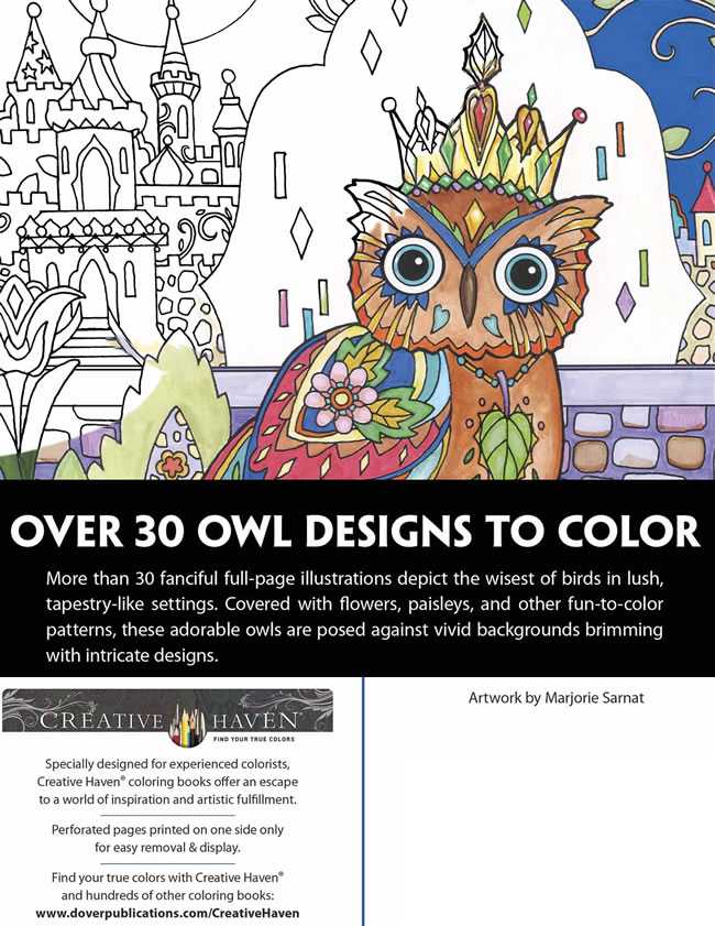Creative Haven Owls Coloring Book Artwork
