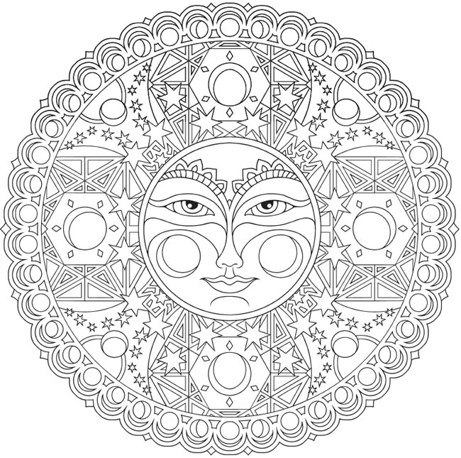 Welcome To Dover Publications Sun Moon Mandala Coloring