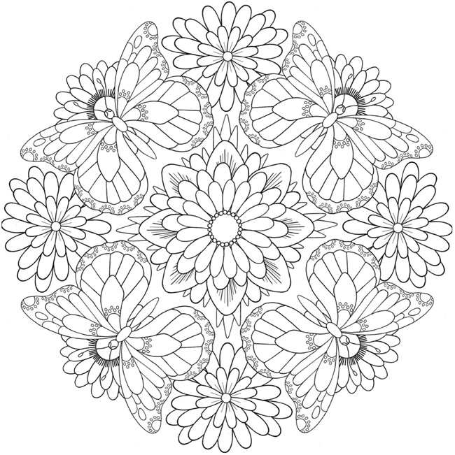 Free Coloring Pages Butterfly And Flower